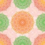Sömlös modell för Mandala, östligt vektormotiv Royaltyfri Illustrationer