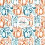 Sömlös modell för mangofilialer För vektorvändkrets för hand utdragen illustration för frukt Inristat stilfruktbaner Exotisk mat  royaltyfri illustrationer