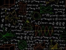 Sömlös modell för matematisk vektor med diagram, formler och andra beräkningar som är handskrivna på förskriftsbokpapperet Royaltyfria Bilder