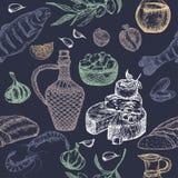 Sömlös modell för medelhavs- kokkonst på blå bakgrund vektor illustrationer