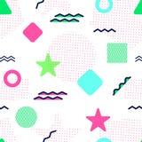 Sömlös modell för Memphis vektor Kulöra geometriska former Abstrakt bakgrund i moderiktig stil Modern upprepad textur Stock Illustrationer