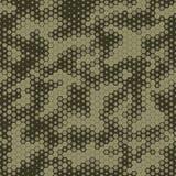 Sömlös modell för militär kamouflage, sexhörnig rasterbakgrund royaltyfri illustrationer