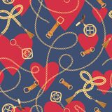 Sömlös modell för mode med guld- kedjor och hjärtor Bakgrund för dag för kedje-, flätad tråd- och smyckentillbehörvalentin stock illustrationer