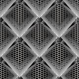 Sömlös modell för modern geometrisk vektor 3d Randig radiell rhom vektor illustrationer