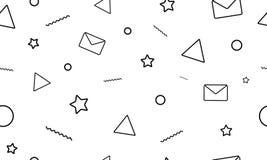 Sömlös modell för modern minimalistic stil på den vita bakgrunden Bokstäver, mejl, stjärnor och triangelsymboler stock illustrationer