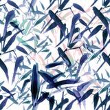 Sömlös modell för modern vattenfärgbambu Skuggor av blått och rosa färger stock illustrationer