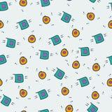 Sömlös modell för modig kawaii Gulliga dobbeldesignbeståndsdelar, objekt och symboler Fotografering för Bildbyråer
