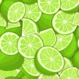 Sömlös modell för mogen saftig tropisk limefrukt Vektorkortillustration Arkivfoto