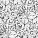 Sömlös modell för monokrom dag för klotterSt Patrick ` s royaltyfri illustrationer