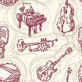 Sömlös modell för musikinstrument royaltyfri illustrationer