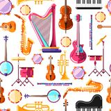 Sömlös modell för musikinstrumentvektor Färgrik bakgrundsdesign för textiltryck vektor illustrationer