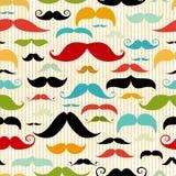 Sömlös modell för mustasch i tappningstil Royaltyfri Foto
