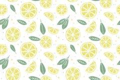 Sömlös modell för ny citron royaltyfri illustrationer