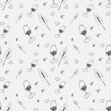 Sömlös modell för nytt år med champagne och gnistor Svartvita linjer av designkonst också vektor för coreldrawillustration royaltyfri illustrationer