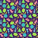 Sömlös modell för nytt år med ekorrar, kaniner, svin, släde, bollar, gåvor vektor illustrationer