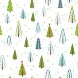 Sömlös modell för olika julgranar för gåvor, tapet stock illustrationer