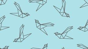 Sömlös modell för origamiöversiktsfågel vektor illustrationer