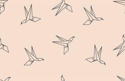 Sömlös modell för origamifågel vektor illustrationer