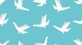 Sömlös modell för origamifågel Japansk bakgrund stock illustrationer