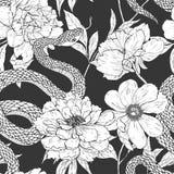 Sömlös modell för ormar och för blommor Arkivfoto
