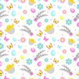 Sömlös modell för påsk med blommor, fjärilar och ägg Gulliga upprepande texturer för vår Barn behandla som ett barn, ungar stock illustrationer