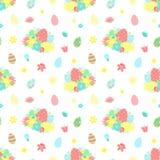 Sömlös modell för påsk med färgrika ägg, blommor, bukett på en genomskinlig bakgrund Vektor hand-dragen illustration för sprin stock illustrationer