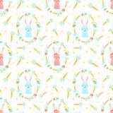 Sömlös modell för påsk med kaniner, morötter och blommor på en genomskinlig bakgrund Vektor hand-dragen illustration av kaninen f stock illustrationer