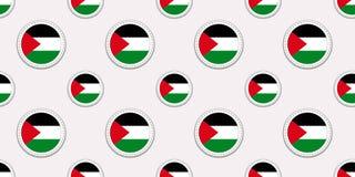 Sömlös modell för Palestina rundaflagga Palestinsk bakgrund Vektorcirkelsymboler Geometriska symboler patriotisk tapet royaltyfri illustrationer