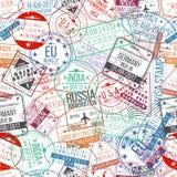 Sömlös modell för passstämpel Internationellt ankomstteckengummi, visumstämplar stock illustrationer