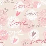 Sömlös modell för pastellfärgade rosa färger med förälskelseord Arkivbild