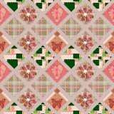 Sömlös modell för patchwork med hjärtor och beståndsdelbakgrund Royaltyfria Foton
