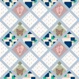 Sömlös modell för patchwork med hjärtor och beståndsdelbakgrund Royaltyfri Bild