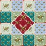 Sömlös modell för patchwork med julträdet och bollar Royaltyfri Bild