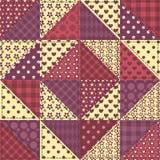 Sömlös modell 1 för patchworkbordeauxfärg Fotografering för Bildbyråer