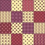 Sömlös modell 2 för patchworkbordeauxfärg Arkivfoton
