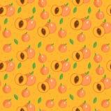 Sömlös modell för persika Ändlös bakgrund för aprikos, textur Bär frukt bakgrunden också vektor för coreldrawillustration Arkivfoto