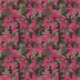Sömlös modell för PIXELcamo Rosa moderiktig kamouflage för mode för modig bransch royaltyfri illustrationer