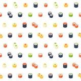 Sömlös modell för plan isometrisk sushi stock illustrationer