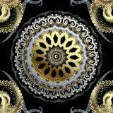 S?ml?s modell f?r prickig f?r guldsilver 3d vektor f?r grek Dekorativ rastrerad bakgrund Tappning texturerade den blom- prydnaden vektor illustrationer