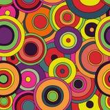 Sömlös modell för psykedeliska cirklar Royaltyfri Illustrationer