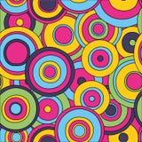 Sömlös modell för psykedeliska cirklar, Vektor Illustrationer