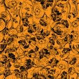 Sömlös modell för pumpafält Svart teckning på apelsinen vektor illustrationer