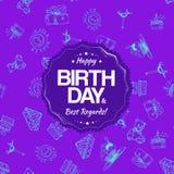 Sömlös modell för purpurfärgad födelsedag med handteckningsbeståndsdelar Royaltyfri Fotografi