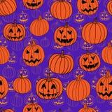 Sömlös modell för purpurfärgad och orange halloween vektor med stålar-nolla-lyktan royaltyfri illustrationer