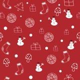 Sömlös modell för röd och vit jul stock illustrationer