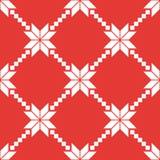 Sömlös modell för röd och vit nordisk vektor vektor illustrationer