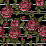 Sömlös modell för röd ros för din design också vektor för coreldrawillustration stock illustrationer