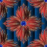 sömlös modell för röd smyckenvektor för blommor 3d Texturerat dekorativt mörkt - blå blom- bakgrund Elegansprydnad med yttersida vektor illustrationer