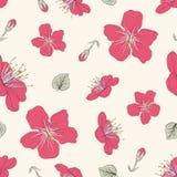 Sömlös modell för röda blomningar stock illustrationer