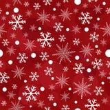 Sömlös modell för röda julsnöflingor Royaltyfria Foton